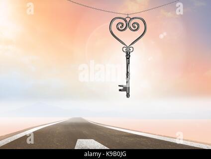 Composite numérique 3d de clef de cœur flottant sur road Banque D'Images