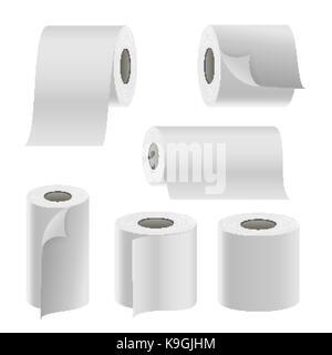 Rouleau de papier réaliste. vecteur vide toilettes modèle blanc rouleau de papier thermique fax. maquette modèle rouleau illustration isolé Banque D'Images