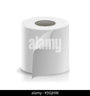 Rouleau de papier réaliste. vecteur vide modèle de rouleau de papier toilette blanc. La maquette de caisse, fax thermique modèle rouleau illustration isolé Banque D'Images