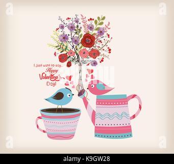 Valentines Day card. Belle carte avec aquarelle fleurs. bouteille avec des oiseaux dans l'amour Banque D'Images