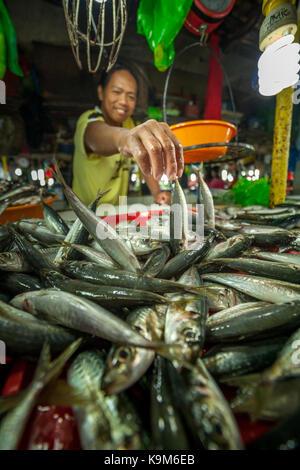 Un homme vend du poisson frais au marché traditionnel à Puerto Princesa, Palawan, Philippines. Banque D'Images