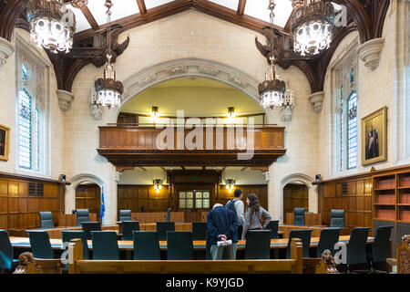 Vue intérieur d'audience de la Cour, 1, Cour Suprême du Royaume-Uni, Westminster, London England UK Banque D'Images