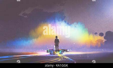 Homme avec brosse et seaux de peinture se place en avant des nuages colorés, style art numérique, illustration peinture Banque D'Images