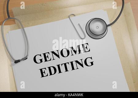 3d illustration de l'édition 'génome' titre sur un document médical Banque D'Images