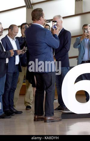 Saint-Sébastien, Espagne. 25 septembre 2017. Arnold Schwarzenegger participe au photocall 'merveille de la mer 3D' lors du 65e Festival du film de San Sebastian, le 25 septembre 2017 à San Sebastian, en Espagne. | Verwendung weltweit crédit : dpa/Alay Live News Banque D'Images