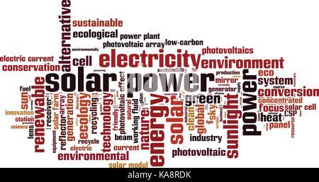 L'énergie solaire mot concept cloud. vector illustration Banque D'Images