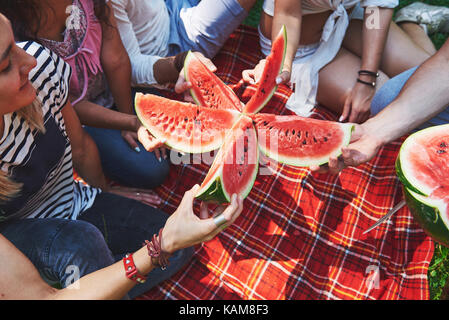 Cheerful friends enjoying watermelon on pique-nique sur journée ensoleillée Banque D'Images