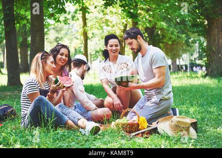 Groupe d'amis ayant pic-nic dans un parc sur une journée ensoleillée - les gens sortir, s'amuser et se détendre Banque D'Images