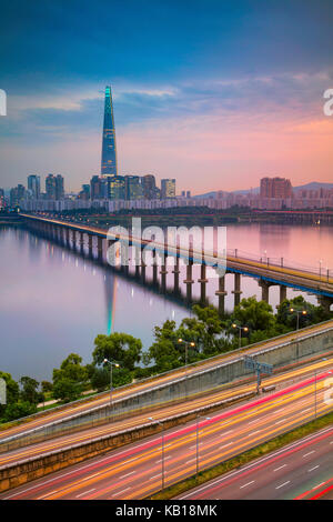 Séoul. cityscape image de Séoul et han river pendant l'été, le coucher du soleil. Banque D'Images