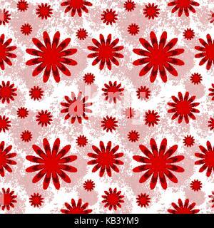 Beau motif floral seamless en rouge et blanc Banque D'Images