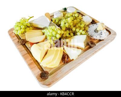 Gouda, Brie, fromage Wensleydale avec canneberges, et d'autres fromages, avec des raisins verts, et des figues, Banque D'Images