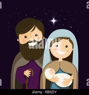 La veille de Noël avec la Sainte Famille. Vector Illustration