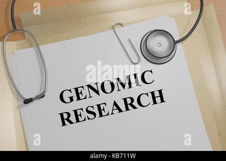 3d illustration de 'la recherche génomique' titre sur un document médical Banque D'Images
