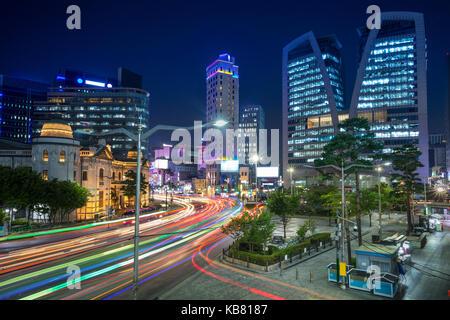 Séoul. cityscape image de Séoul downtown de nuit. Banque D'Images