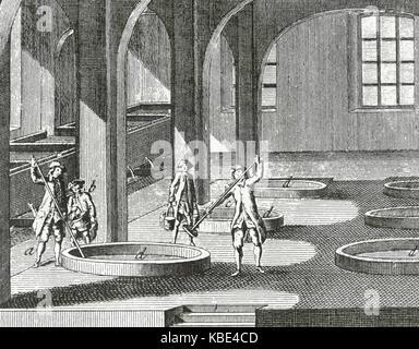 Savonnerie. processus de mixage. 18e siècle. encyclopedie de Diderot et d'Alembert. gravure. Banque D'Images