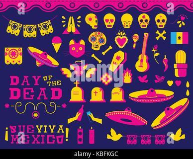 Le Jour des morts la fête traditionnelle mexicaine. icon set style moderne télévision couleur décoration dynamique Banque D'Images