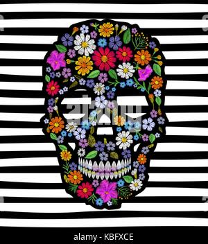 Vintage fleur brodée crâne. muertos dead day fashion design decoration imprimer. marigold camomille daisy belle Banque D'Images