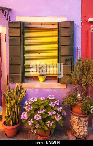 Afficher la fenêtre de Burano, italie Banque D'Images