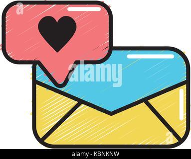 Message e-mail et chat bubble avec coeur
