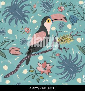 Toucan oiseau motif transparent. vector illustration Banque D'Images