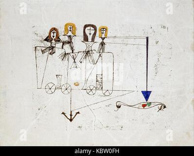Paul Klee La vertu Wagon (à la mémoire du 5 octobre 1922) Banque D'Images