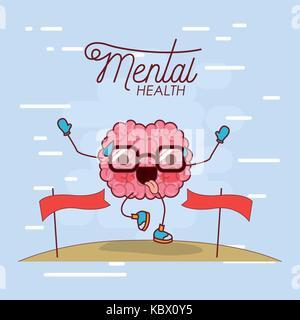 L'affiche de la santé mentale du cerveau caricature avec des lunettes d'exécution et note de ligne d'arrivée et Banque D'Images