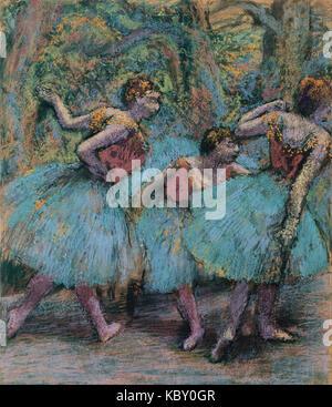 Edgar Degas trois danseurs (Bleu Tutus, corsages rouge)