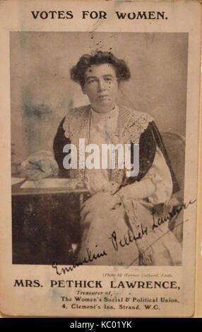 Pethick Lawrence carte postale signée c.1907