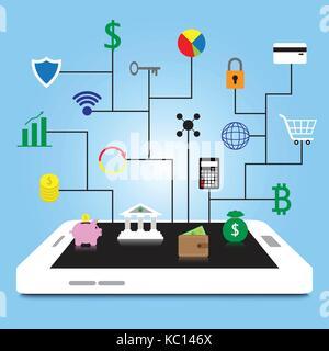 Fintech 19 icônes colorées sont connectés au smartphone blanc par les lignes noires sur fond bleu en impliquant Banque D'Images
