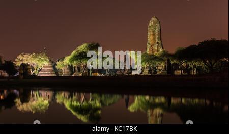 Wat Phra Ram Temple à Ayuthaya Historical Park, site du patrimoine mondial de l'UNESCO en Thaïlande Banque D'Images