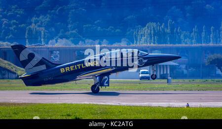 Breitling Jet Team, L 39 Albatros pendant le décollage, Sion Airshow, Sion, Valais, Suisse