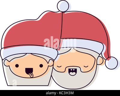 Santa Faces Pere Noel Sourit Avec La Langue Et Les Yeux Fous