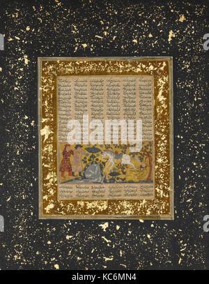 Yazdegird 'j'ai lancé à la mort par l'eau, des chevaux d'un folio Shahnama (Livre des Rois), ca. 1300-30 Banque D'Images
