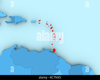 Caraïbes en rouge sur bleu carte politique. 3d illustration.
