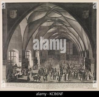 Vue de l'intérieur de la salle Vladislav au Château de Prague pendant la Foire annuelle, Aegidius Sadeler II, 1607 Banque D'Images