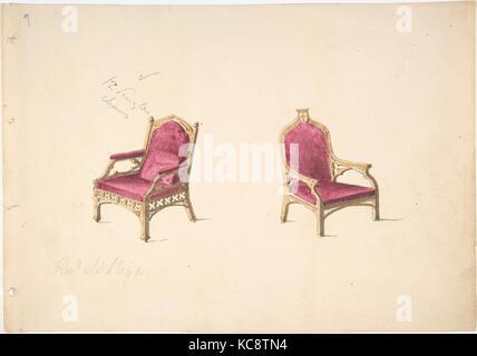 Conception pour deux fauteuils de style médiéval pour 'Rev. W. Lloyd', anonyme, britannique, 19ème siècle, début Banque D'Images