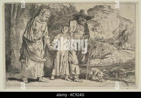 Le Christ entre ses parents de retour de la Temple, après Rembrandt, n.d Banque D'Images
