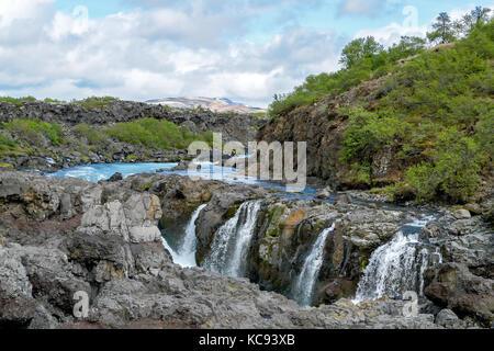 Barnafoss waterfall - Ouest de l'Islande Banque D'Images