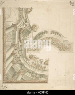 Conception de plafond et balustrade, anonyme, l'italien, 18e siècle Banque D'Images