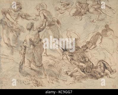 Le triomphe du génie sur l'envie, Eugène Delacroix, ca. 1849-51 Banque D'Images