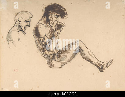 """Études d'un homme maudit, pour 'Dante et Virgile aux enfers"""" (Musée du Louvre, Paris), Eugène Delacroix, 1822 Banque D'Images"""