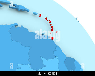 Caraïbes a mis sur bleu modèle 3d de globe politique. 3d illustration.