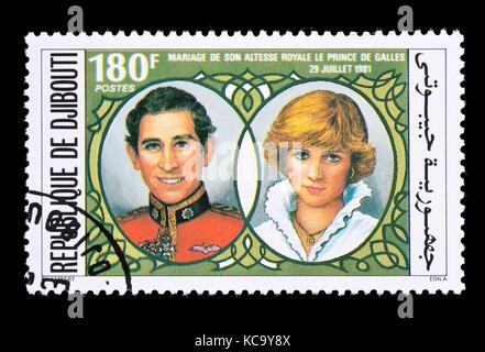 Timbre-poste pour Djibouti représentant le Prince Charles et Lady Diana, émis pour leur mariage royal en 1981. Banque D'Images