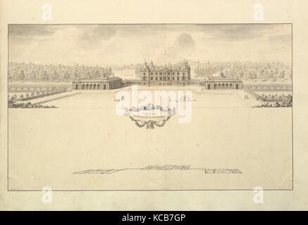 Avant de l'ouest de Houghton Hall dans le Norfolk, Perspective, 1735 Banque D'Images