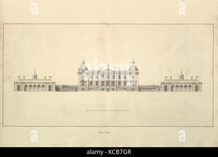 L'Ouest avant de Houghton Hall, Norfolk, élévation, Isaac Ware, 1735 Banque D'Images