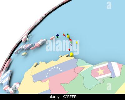Carte des caraïbes sur globe politique intégré avec drapeau. 3d illustration.