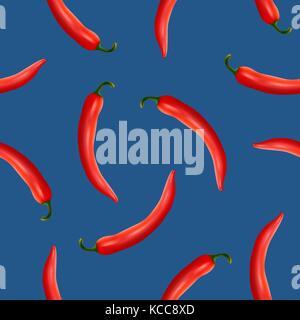 Transparente avec motif vecteur réaliste Red Hot Chili Peppers naturel sur un fond bleu. eps10. Banque D'Images