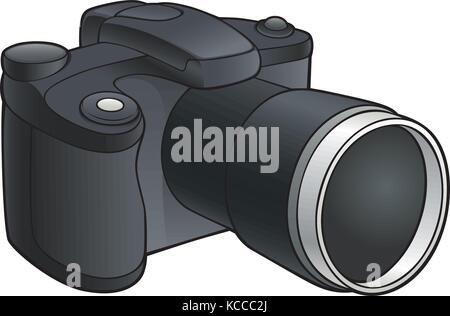 Vector illustration de l'appareil photo numérique avec objectif zoom Banque D'Images