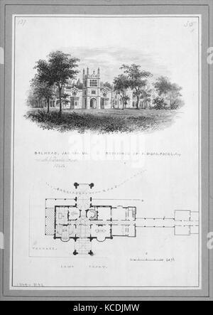 'Belmead', James River, Virginia, Résidence de Philip St. George Cocke (vignette de Riverside et le plan d'élévation), Banque D'Images