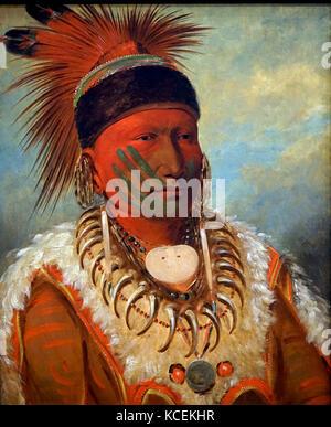 Portrait du nuage blanc, grand chef de l'iowas par George Catlin (1796-1872) un peintre américain, auteur et voyageur. Banque D'Images